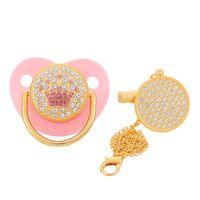 Luxo Crown Diamond Bebê Bling Bling Chupeta Infantil Infantil Bebé Recém-nascido Menina Menino Para Chuveiro Presente Chupete Bebé 0-18 Meses