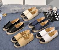 Verkauf Frauen Espadrilles Mode Designer Damen Casual Schuhe Wohnungen Echte Echtes Leder Müßiggänger Slip-On-Plattform SEASONS SCHUH Size 34-42