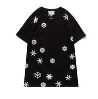 Tshirt en gros de haute qualité Nouveau 2021 lettre de flocon de neige broderie hommes et femmes mode t-shirt à manches courtes 100% coton chemise haute qualité