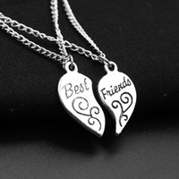 Collar de moda Color de plata Colgante del corazón Mejores amigos Colgante de corazón Collar grabado Collar de aleación Regalo de San Valentín WQ631