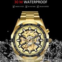 Tasarım Erkekler Için Otomatik Mekanik Saat Saatleri Saatler Lüks Altın Su Geçirmez İzle Adam İskelet Çelik Orologio UOMO