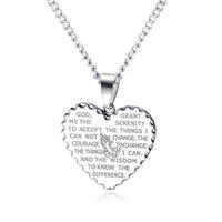 Кулон Ожерелья Урожай Религиозное Библия Сердце Ожерелье Высокое Качество Мужская Нержавеющая Сталь Молитвенные Украшения Подарок GX1523