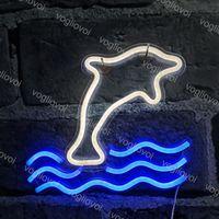 Letrero de neón LED SMD2835 Diseño de luz de luz de la noche de interior Modelo de delfines con panel posterior transparente Fiesta de Navidad Fiesta de la boda Lámparas DHL