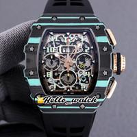 Nuovo RM011 Flyback Chrono Eta 7750 Chronografo automatico orologio da uomo RM11-03 Blue NTPT Custodia in fibra di carbonio Cinturino in fibra di carbonio Orologi Ciao_Watch HWRM