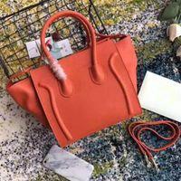 Luxusdamen Trapez Casual Tote Handtasche Echte Rindsleder Frau Designer Schulter Bat Bag mit Handgelenksbügel Tasche Boston Handtasche
