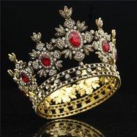 Barok Gelin Taç Siyah Elbise Tiara Taç Altın Kraliyet Kral Diadem Gelin Düğün Saç Takı Erkek Tiaras Ve Taçlar Headdress T200522