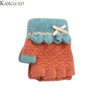 Kancoold moda inverno meia dedo luvas de inverno meia dedo confortável luvas de malha mantêm a vira quente sobre luvas de espessamento1