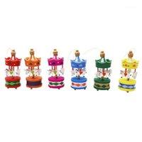 Décorations de Noël 2021 6pcs Joyeux Wood Carousel Cheval Ornaments Cheveux Enfants Enfants Enfants Enfants Anniversaire Joy Joy Année Cadeaux Pendant1