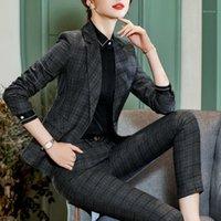 Pantaloni da ufficio carriera da donna 3 pezzi Pantaloni da ufficio Set Attiti La Giacca Blazer Plaid Dark Feminine + Camicia nera + Vestito lungo Pant 6521