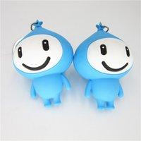 Xinyuan Lake PVC Soft Goma Dibujos animados Bebé Caballo Cabeza Estéreo Azul Muñeca Silicona Llavero JGTF