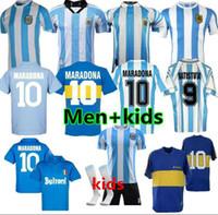 Maradona 1978 1986 Retro Argentinien Fussball Jersey Klassiker 96 97 1994 1998 Newells Alte Jungen Vintage Football Shirt Messi Riquelme Crespo Tevez Ortega Batistuta Kempes