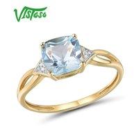 Vistaso Pure14K 585 Anel de Ouro Amarelo para Mulheres Espumante Diamante Limpid Blue Topaz Aniversário Clássico Jóias Fina Y1124
