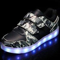 Athletic Outdoor Black Bright Solid usb LED Light Up Scarpe bambino traspirante Loop Bambini Carica Scarpe da ginnastica luminose per Girlboy 25-3