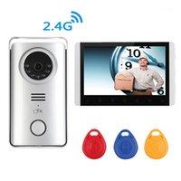 비디오 도어 폰 디지털 무선 전화 아파트 인터콤 초인종 카메라 RFID 7 인치 모니터 보안 시스템 1