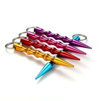 الجملة النساء الصلبة الألومنيوم البسيطة الدفاع عن النفس ملون سلسلة المفاتيح عصا سيارة سلاسل المفاتيح الملحقات 9 ألوان