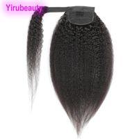 Brasiliano Peruviano 100% Human Hook Gancio Loop Kinky Dritto 8-24 polline di cavallo Ponytails Virgin Hair Kinky Dritto Pony Coda estensioni dei capelli