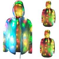 Мужские куртки мужские женские красочные светящиеся куртки светодиодная светящаяся одежда поворотный воротник