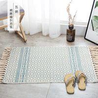 Carpets Fashion Home Living Room Carpet Floor Rug Tassel Decor Cotton And Linen Bedside Shower Mat Balcony Kitchen Area 60x90cm