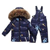 Erkek Kış Snowsuit Kürk Kış Kız Suit Ördek Aşağı Çocuk Erkek Giyim Setleri Sıcak Toddler Aşağı Parka Ceket Kaban Kar Y1116