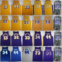 Erkekler Vintage Basketbol Shaquille Onal Formalar 34 Wilt Chamberlain 13 Dennis Rodman Jerry West Artest Worthy Kareem Abdul Jabbar Johnson