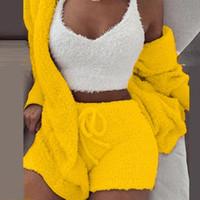 Plush Coussusit Женщины 3 штуки набор кофты для спортивных штангой Вствование 3XL Куртка Урожай Шорты Костюм Спортивный костюм Безвозмездная Femme 2021