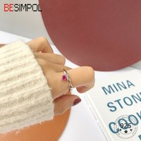 Besimpol 100% Real 925 Sterling Silver Rings Simple Charm Red Corundum Heart Ruby Adjustable Ring For Women Fashion Fine Jewelry J1208