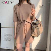 RZIV Sommer Freizeitanzug Frauen Solid Color T-Shirt + Hosen gestrickte Suits1