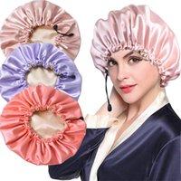 샤워 모자 가역적 인 새틴 보닛 더블 레이어 조정 가능한 크기 잠자는 밤 캡 머리 커버 모자 곱슬 곱슬 곱슬한