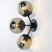 로비 침실 머리맡 복도 벽 램프 현대 분자 로프트 벽 Sconce 콩 유리 공 빛 주도 라운드 볼 램프