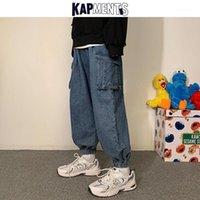 Jeans Menores Kapments Hombres Patchwork Bolsillos Pantalones de mezclilla 2021 CARGO Hombre Japonés Harajuku Joggers Pantalones Vintage Hombre Swears Swears1