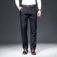 Erkek Kot 2021 İlkbahar Sonbahar Klasik Mavi Slim-Fit İş Pamuk Elastik Normal Fit Denim Pantolon Erkek Marka Pantolon 40