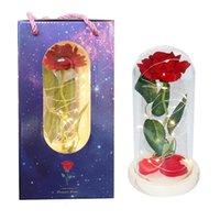 و القباب مع الصمام الورود الحرير ارتفع ضوء في الزجاج قبة على قاعدة خشبية السوداء ل ديكور المنزل عيد الحب الحاضر