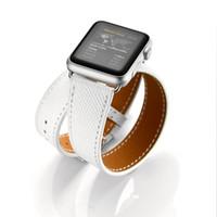 Cinta de couro de couro duplo PALMPRINT STRAP para Apple Watch Series 12345 Bandas de pulso Acessórios de substituição 38mm 40mm 42mm 44mm