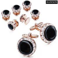 Hawson Luxury Crystal Crystal Clinting Links и шпильки для смокинга мужские аксессуары свадебные запонки
