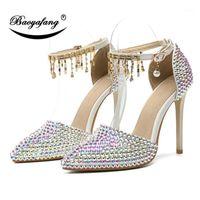 Scarpe Dress BAOOOAFANG 2021 Arrivo AB Crystal Wedding Wedding Donna 11cm Tacchi alti appuntiti Punta Bridal Party Shoe Plus Size 461