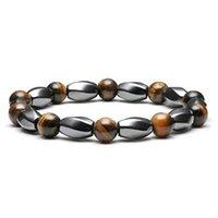 Elastisches schwarzes magnetisches Tigerauge-Stein-Armband mit Handperlen