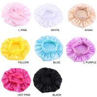 Fashion Kids Bonnet Girl Satin Night Sleep Shower Cap Hair Care Soft Cap Head Cover Wrap Beanies Skull Cap For 1-6Y baby boutique E111803