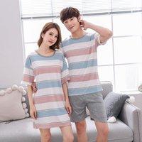 Женские пижамы молодые влюбленные пижамы женщины Nihgtdress с короткими рукавами летние пижамы свободные мужчины тонкий стиль пара Pijama набор Top + штаны1