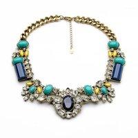 Chokers Blue Imitazione Gemstone Gemstone Geometric Retro Collana Collana Moda Donne Dichiarazione Dichiarato Bib Designer Jewelry1