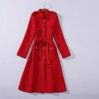 1112 2020 бесплатная доставка осень бренда же стиль пальто черный красный экипаж шеи с длинным рукавом твид мода женская одежда Sh