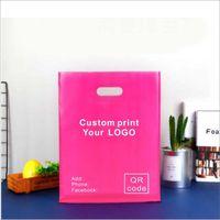 25x35cm personnalisé imprimer votre logo sur sac en plastique sac à vêtements ou sacs d'emballage avec logo, sacs à provisions une couleur imprimé MOQ est 500pcs