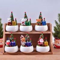 1 قطع هدية عيد الميلاد السيراميك بوعاء النباتات الاصطناعي زهرة السيراميك زهرة محاكاة النبات بوعاء منزل نافذة ديكورات