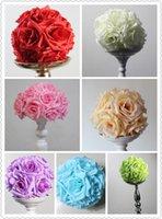 Flores decorativas grinaldas spr 20 pcs / lote 15cm / 6 polegadas decorações de casamento seda beijando Pomander rosa bolas buquê