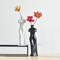 Retro Chinesische Stil Keramikvase Frau Cheongsam Elegante Blume Anordnung Blume Vase Handgemachte Heimdekoration Modern1