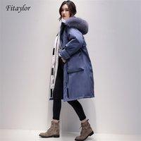 Fitaylor grande raposa real coleira de pele longo casaco inverno jaqueta mulheres 90% pato branco para baixo grosso parkas quentes amasses de neve outwear 210202