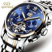 المعصم kinyued أعلى ماركة الرجال التلقائي الساعات الميكانيكية الفولاذ المقاوم للصدأ الفرقة الياقوت التقويم ماء ساعة اليد relogio1
