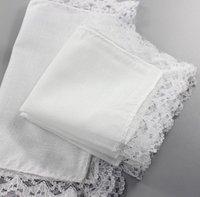 Noel hediyesi beyaz dantel ince mendil kadın düğün hediyeleri parti dekorasyon bez peçeteler düz boş diy mendil 25 * 25 cm yys3305