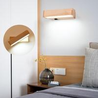 Moderne Holz-LED-Wandleuchte rotierende sconce-Lampe AC220V Eitelkeitslicht Wandlampe Schlafzimmer direkter kreativer Gang mit Schalterknopf