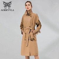 Женщины женские пальто Aorryvla 2021 весенние женские повседневные пальто хлопчатобумажные негабаритные двойной погружной хаки свободный стиль старинные женщины с поясом