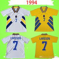 1994 Svezia Jersey di calcio casa giallo retrò 94 classico antico vintage maillot lontano camicia di calcio bianco # 11 Brolin # 10 dahlin # 7 larsson